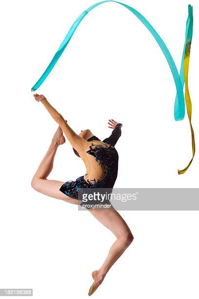 gymnast girl jump on white background - rhythmic gymnastics stock pictures, royalty-free photos & images