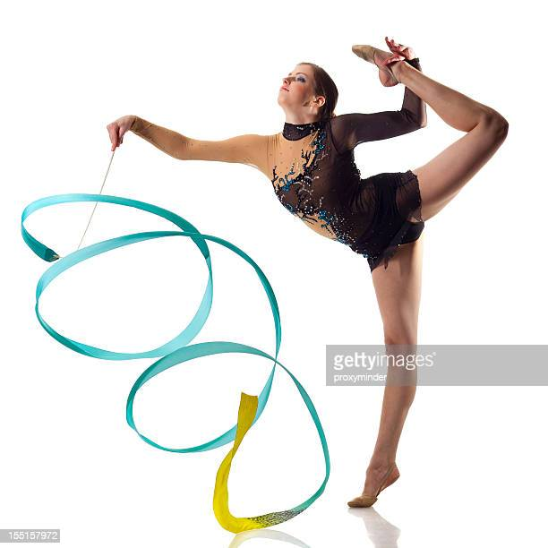 gymnast girl on white background - rhythmic gymnastics stock pictures, royalty-free photos & images