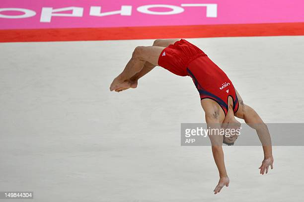 US gymnast Jacob Dalton competes in the men's floor exercise final of the artistic gymnastics event of the London Olympic Games on August 5 2012 at...