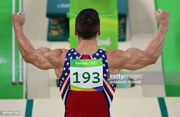 TOPSHOT US gymnast Jacob Dalton competes in the vault of the men's team final of the Artistic Gymnastics at the Olympic Arena during the Rio 2016...