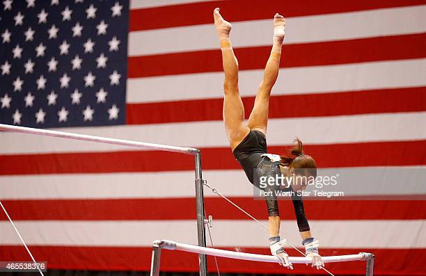 Gymnast Jessica Lopez of Venezuela competes during the high bars event during the ATT American Cup competition at ATT Stadium in Arlington Texas on...