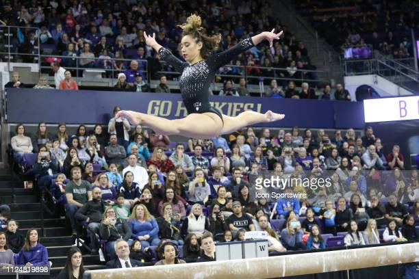 UCLA gymnast Katelyn Ohashi performs her routine on the balance beam during a women's college gymnastics meet between the UCLA Bruins and the...