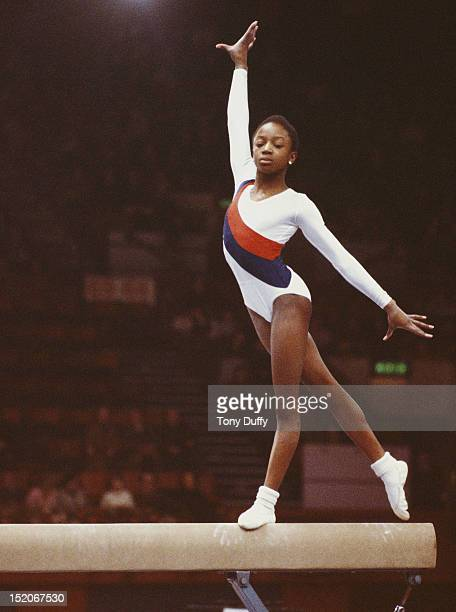 Gymnast Kathleen Williams of Great Britain performs on the Balance Bar during the Got Milk Gymnastics event on 1st November 1979 at the Wembley Arena...