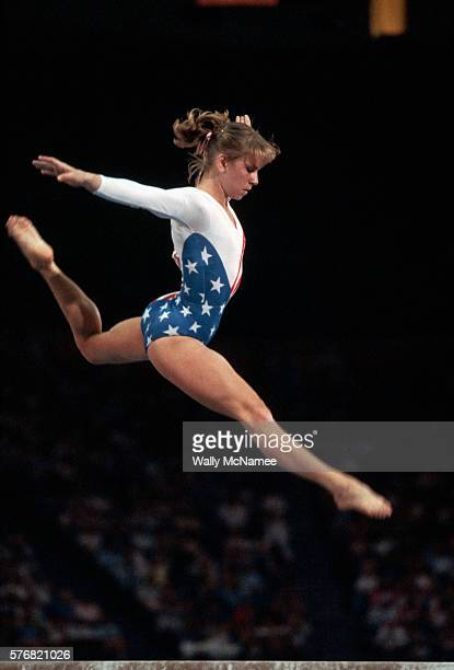 Gymnast Kathy Johnson competes during the 1984 Summer Olympic Games in Los Angeles California