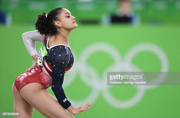 US gymnast Lauren Hernandez competes in the floor exercise on Tuesday Aug 9 at the Rio Olympic Games in Rio De Janeiro Brazil The US women's squad...