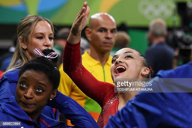 TOPSHOT US gymnast Lauren Hernandez reacts during the women's balance beam event final of the Artistic Gymnastics at the Olympic Arena during the Rio...