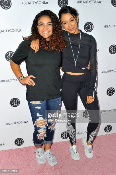 Gymnast Laurie Hernandez and actress Liza Koshy attend the 5th Annual Beautycon Festival Los Angeles at Los Angeles Convention Center on August 13...