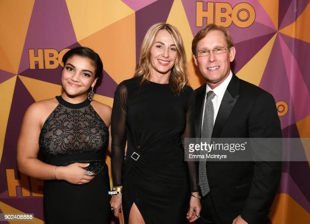 Gymnast Laurie Hernandez and former gymnasts Nadia Comaneci and Bart Conner attend HBO's Official Golden Globe Awards After Party at Circa 55...