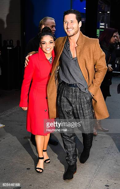 Gymnast Laurie Hernandez and professional dancer Val Chmerkovskiy leave the 'Good Morning America' taping at the ABC Times Square Studios on November...