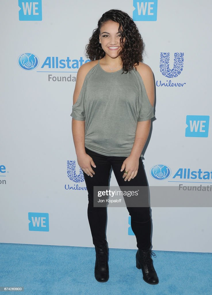 Gymnast Laurie Hernandez arrives at We Day California 2017 at The Forum on April 27, 2017 in Inglewood, California.