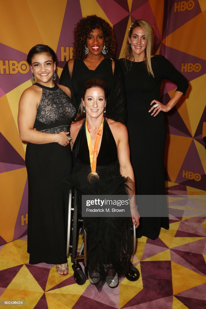 Gymnast Laurie Hernandez, athlete Tatyana McFadden, former athletes Jackie Joyner-Kersee and Summer Sanders attend HBO's Official Golden Globe Awards After Party at Circa 55 Restaurant on January 7, 2018 in Los Angeles, California.