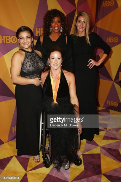 Gymnast Laurie Hernandez athlete Tatyana McFadden former athletes Jackie JoynerKersee and Summer Sanders attend HBO's Official Golden Globe Awards...