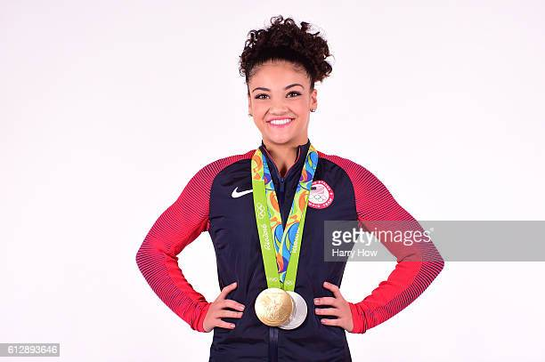Gymnast Laurie Hernandez poses for a portrait on October 5 2016 in Los Angeles California Hernandez from Old Bridge Township New Jersey won a gold...