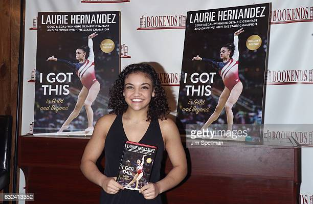 """Gymnast Laurie Hernandez signs copies of her new book """"I Got This"""" at Bookends Bookstore on January 22, 2017 in Ridgewood, New Jersey."""