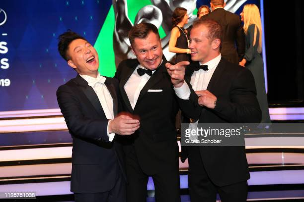 Gymnast Li Xiaopeng, Alexey Nemov and Fabian Hambuechen during the Laureus World Sports Awards 2019 at Monte Carlo Sporting Club on February 18, 2019...