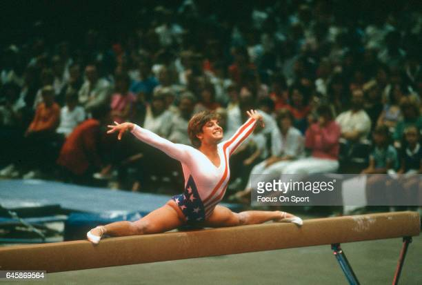 Gymnast Mary Lou Retton of the United States competes in the balance beam competition in gymnastics during the Games of the XXIII Olympiad in the...