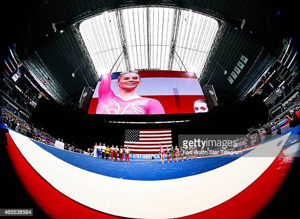 Gymnast MyKayla Skinner of the United States is recognized during the ATT American Cup competition at ATT Stadium in Arlington Texas on Saturday...