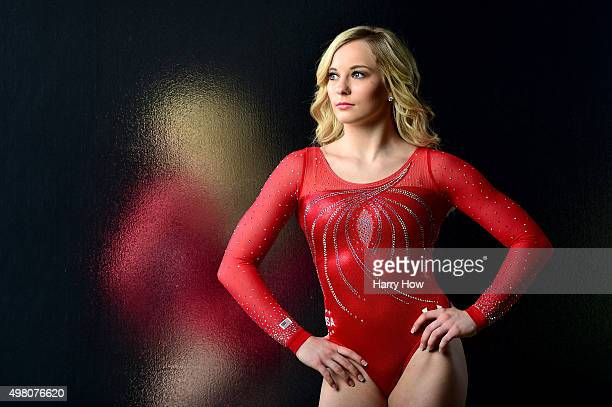 Gymnast MyKayla Skinner poses for a portrait at the USOC Rio Olympics Shoot at Quixote Studios on November 20 2015 in Los Angeles California