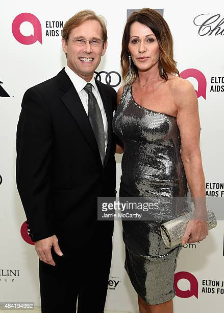 Gymnast Nadia Comaneci and Bart Conner attend the 23rd Annual Elton John AIDS Foundation Academy Awards Viewing Party on February 22, 2015 in Los...