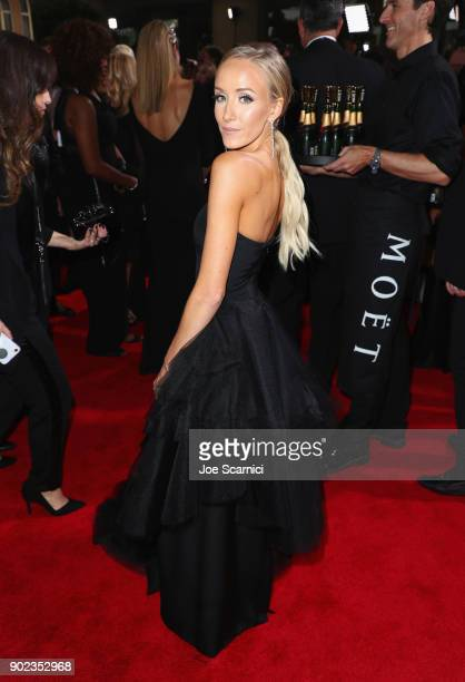 Gymnast Nastia Liukin celebrates The 75th Annual Golden Globe Awards with Moet Chandon at The Beverly Hilton Hotel on January 7 2018 in Beverly Hills...