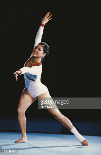 Gymnast Nellie Kim of the Soviet Union performs during an exhibition event on 1st November 1980 at Wembley Arena in London United Kingdom