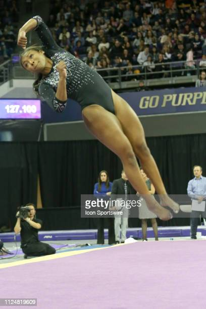 UCLA gymnast Nia Dennis performs her floor exercise during a women's college gymnastics meet between the UCLA Bruins and the Washington Huskies on...