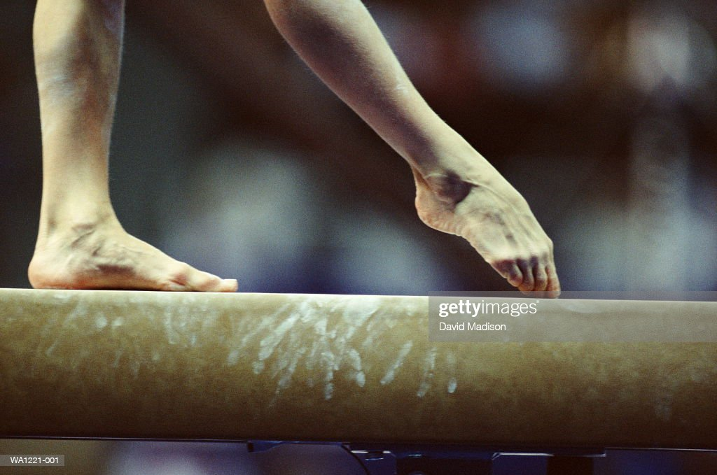 Gymnast On Beam Closeup Of Feet Stock Photo Getty Images