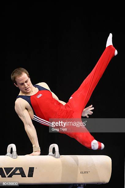 Gymnast Paul Hamm of the United States performs on the pommel horse during the 2008 Pacific Rim Gymnastics Championships March 30 2008 at the San...