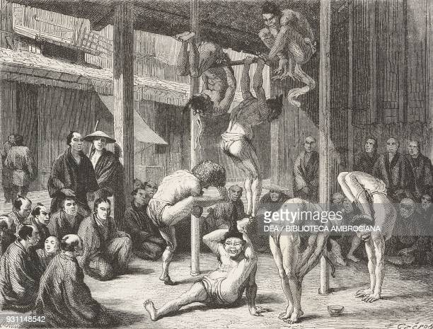 Gymnast performance in Kyoto, drawing by L Crepon from a Japanese painting, from Japan, 1863-1864, by Aime Humbert , from Il Giro del mondo , Journal...