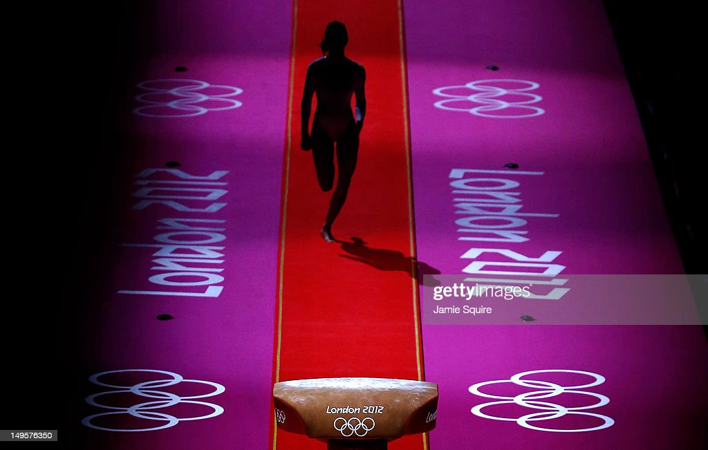 A gymnast performs during warmups before the start of the Artistic Gymnastics Women's Team final on Day 4 of the London 2012 Olympic Games at North Greenwich Arena on July 31, 2012 in London, England.