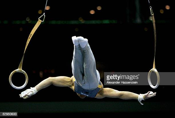 Gymnast performs on the Rings during the International German Gymnastics Festival on May 19 2005 in Berlin Germany