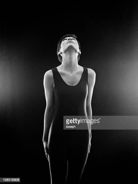 ginasta - silhueta de corpo feminino preto e branco imagens e fotografias de stock