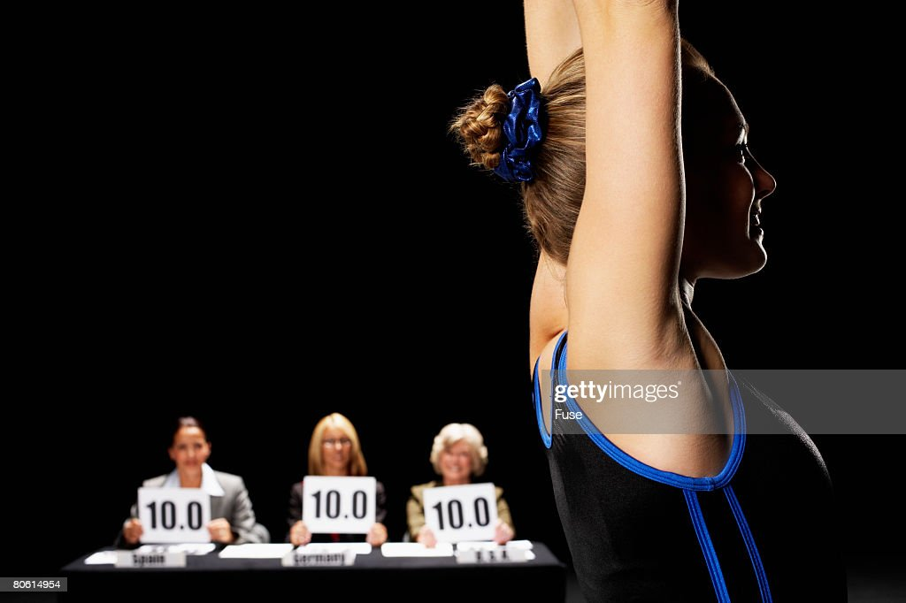 Gymnast Recieving Perfect Score : Bildbanksbilder