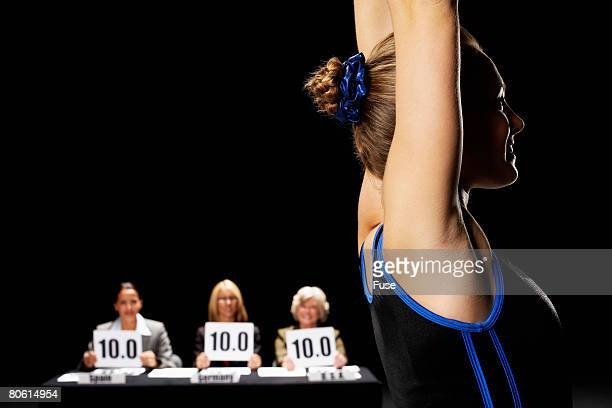 gymnast recieving perfect score - scoring stock pictures, royalty-free photos & images