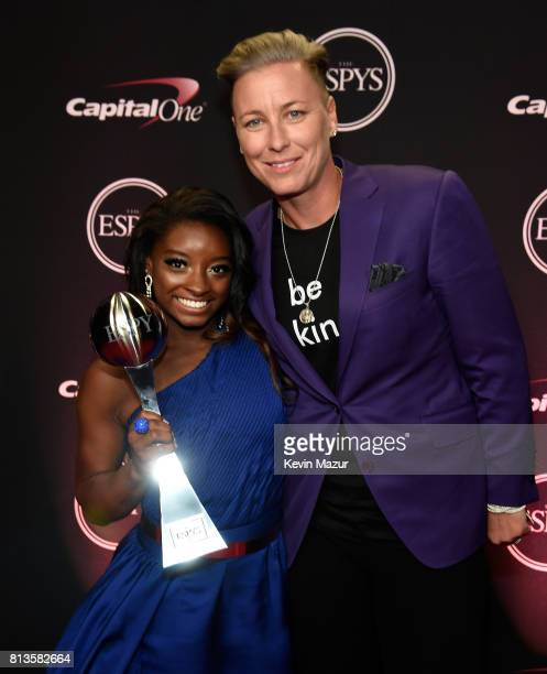 Gymnast Simone Biles and former soccer player Abby Wambach attend The 2017 ESPYS at Microsoft Theater on July 12 2017 in Los Angeles California