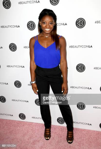 Gymnast Simone Biles attends Day 2 of the 5th Annual Beautycon Festival Los Angeles at the at Los Angeles Convention Center on August 13 2017 in Los...