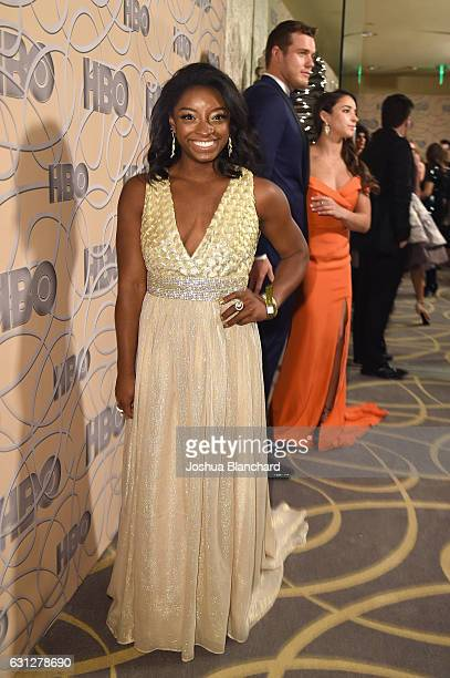 Gymnast Simone Biles attends HBO's Official Golden Globe Awards After Party at Circa 55 Restaurant on January 8 2017 in Beverly Hills California