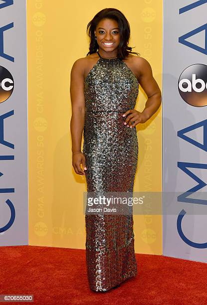 Gymnast Simone Biles attends the 50th annual CMA Awards at the Bridgestone Arena on November 2 2016 in Nashville Tennessee