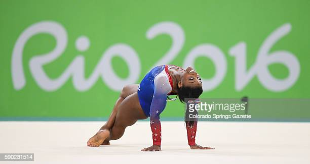 US gymnast Simone Biles delivers a goldmedal performance in the Individual Women's Floor Exercise final at Rio Olympic Arena in Rio de Janeiro Brazil...