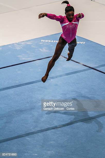 Gymnast Simone Biles in action for her floor exercise during the Women's All-Around Final of the 44th Artistic Gymnastics World Championship in...