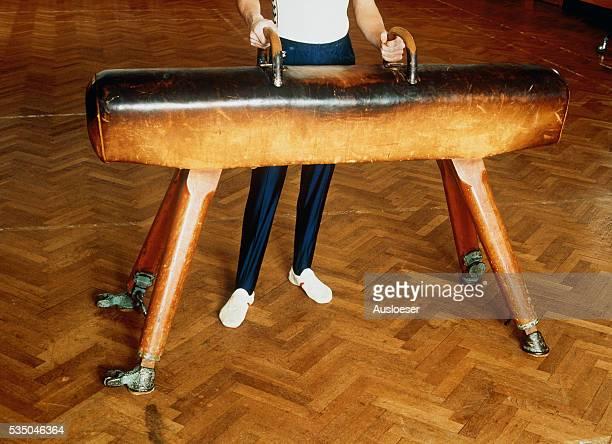 gymnast standing at a pommel horse - voltigeerpaard stockfoto's en -beelden