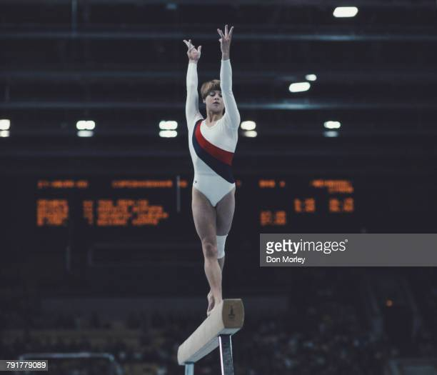 Gymnast Susan Cheesebrough of Great Britain performs in the Women's Balance Beam event on 25 July 1980 during the XXII Olympic Summer Games at the...