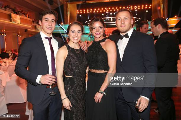 Gymnast Tabea Alt and her brother Simon Alt and Pamela Dutkiewicz and her boyfriend Mike Emmerich during the 'Sportler des Jahres 2017' Gala at...