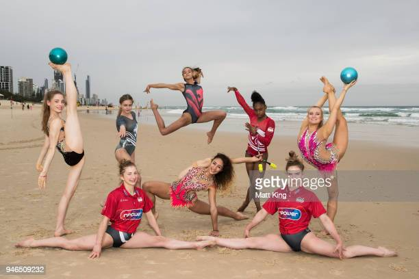 Gymnastic athletes from England pose on Kurrawa Beach on day 10 of the Gold Coast 2018 Commonwealth Games on April 14 2018 on the Gold Coast Australia