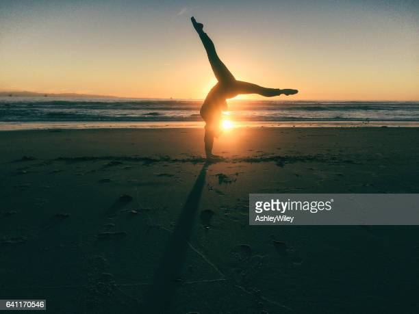 Gymnastic strength at sunset
