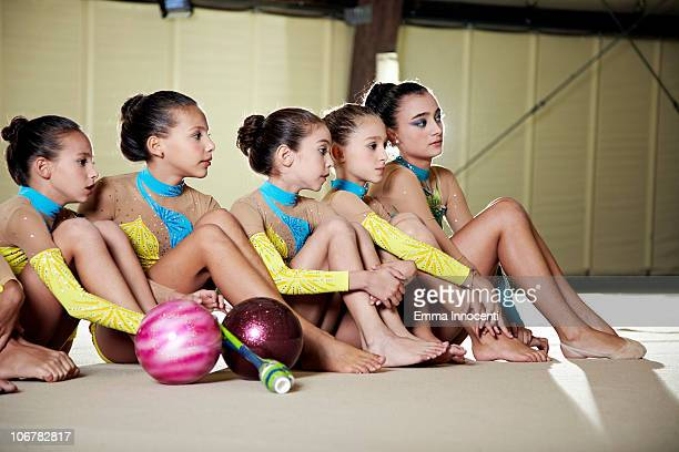 gymnastic, team, competition, looking at