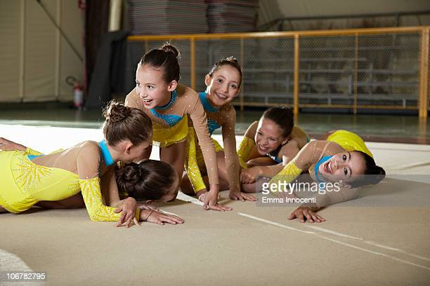 gymnastic, team, laughing, on the floor