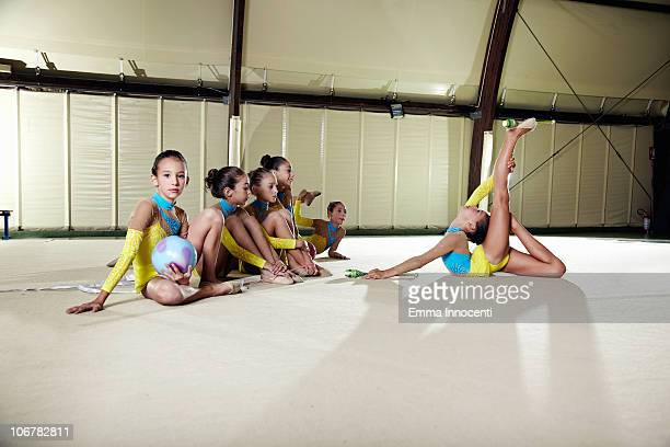 gymnastic, team, one girl acrobatic activity