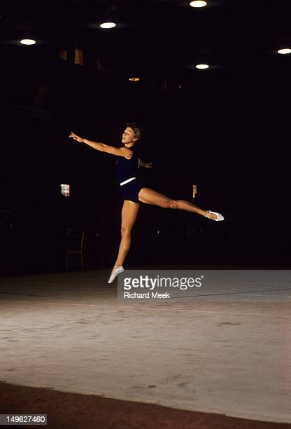 1956 Summer Olympics USSR Larisa Latynina in action floor exercise during Women's competition at West Melbourne Stadium Melbourne Australia 12/3/1956...