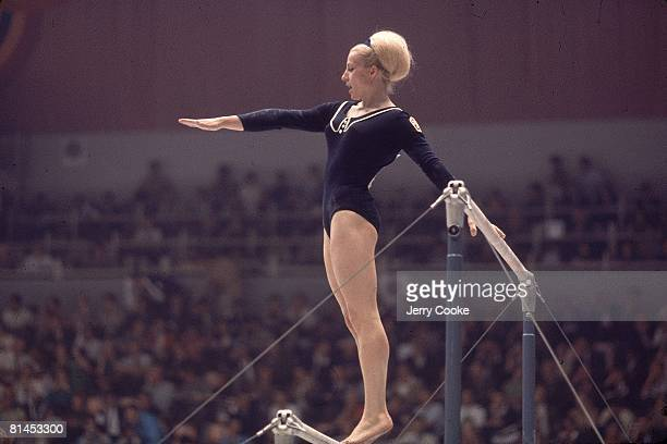 Gymnastics 1968 Summer Olympics CZE Vera Caslavska in action during uneven bars competition Mexico City MEX